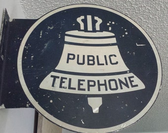 Old Double Sided Metal Public Telephone Sign - Dark Blue and White