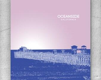 Urban Loft Modern Art Poster / Oceanside CA Skyline Art Poster / Any City or Landmark
