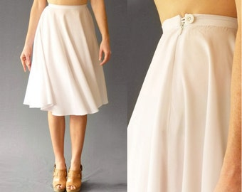 High Waist Full Circle Skirt White Knee length super light weight and flowy