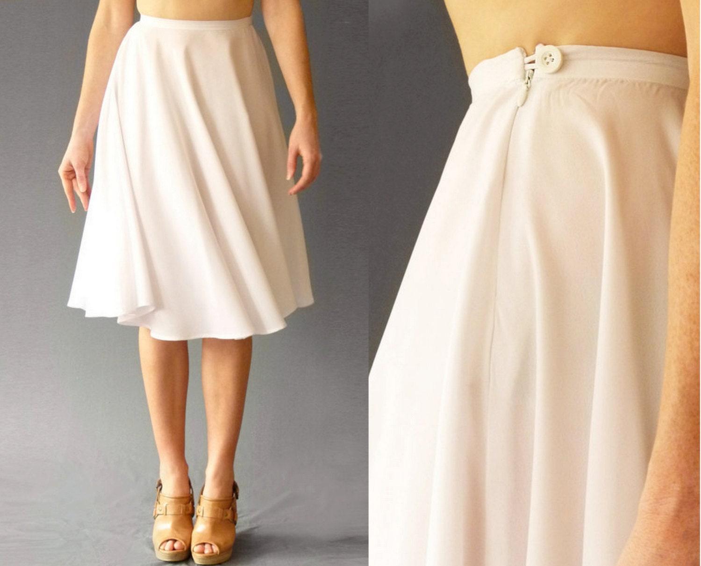 high waist circle skirt white knee length by