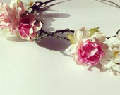 Country Roses & Blossoms Woodland Wedding Hair Accessory Flower Bridal Headband Wreath Floral Crown Pink and White Vintage Spring Valentine