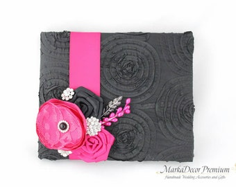 READY TO SHIP Wedding Lace Guest Book Custom Bridal Flower Brooch Guest Books in Black and Hot Pink Fuchsia