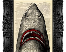 Jaws Print, Shark Jaws Print, Vampire Animal, Great White Shark, Halloween Print Gift, Sea Creature, Decor, Ocean Fish Art Print Vintage 450