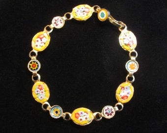 Vintage Gold Tone Multi Floral Micro Mosaic Bracelet