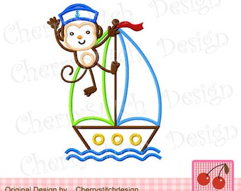 Sailor Monkey Machine Embroidery Appliqque -for 5x7 6x10 hoop