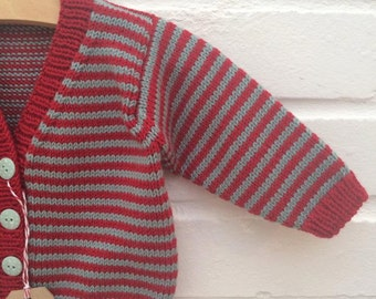 Hand knitted stripey scarlet and teal baby cardigan - Available to order in sizes 3-6 months up to 12-18 months