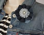 Delightful Denim flower brooch, Denim fabric flower, denim jewelry, denim brooch, Blue Denim Bobby Pin.