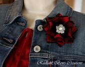 Pretty Denim Red and Black flower brooch pin, Denim fabric flower, Denim jewelry, Denim brooch, Red Denim Pin.