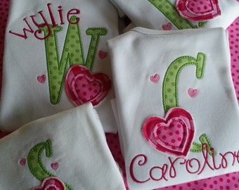 Valentine's Day, Girls Valentine's Shirt, Appliqued Initial, Raggy Heart, Long Sleeve Cotton Shirt. Sizes 12mo - 10 yrs.