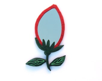 Rosebud mirror,Decorative wall mirror,flower mirror,red rosebud with green leaves mirror