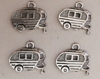 Set of 4 Pewter Trailer Camper Airstream Charms