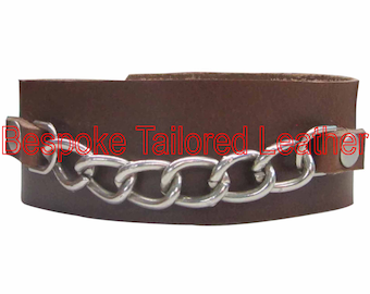 Brown Leather Wristband With Chain WBN008