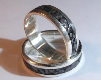 Silver 925 ring with hematite and personalized text