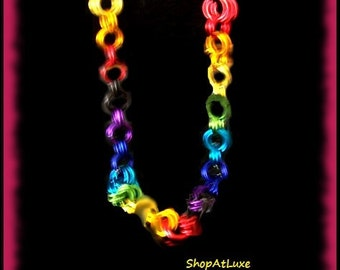 LBGT PRIDE RAINBOW Chainmaille Necklace