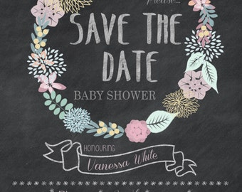 Printable Floral U0027Save The Dateu0027 Baby Shower 5x7 Invitation   Print At ...