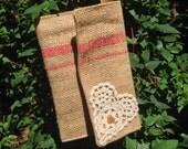 Burlap Clutch, Burlap Wristlet Repurposed coffee bean bag, vintage lace clutch, vintage lace wristlet