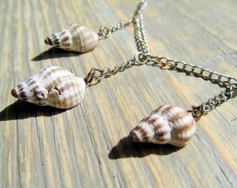 Whelk Shell Necklace featuring Three Rhode Island Beach Whelk Shells - Seashell Jewelry / Nautical Jewelry / Beach Jewelry