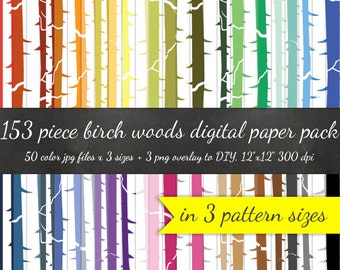 B2G1 Huge 153 Piece Birch Forest Digital Paper Pack - 3 Pattern Sizes 50 Colors Each + 3 Tree Overlays - Scrapbook Woodland Background Woods