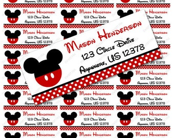 Red Mickey Mouse Address Label Avery 5160 - Instant download