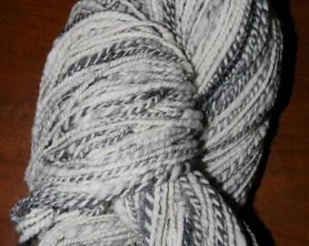 "203 yards, 2 ply, hand spun wool yarn varigated white and grays,"" Dapple Gray"" Oregon, Pacific Northwest"
