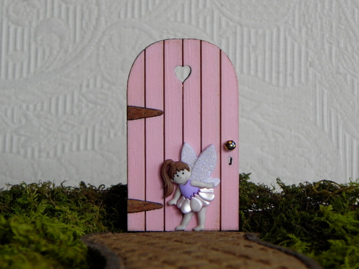 TINY Fairy Door With Heart Cut Out Carnation Pink Handmade