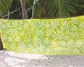 Handprinted Nature Embossed Cotton Textile Beach Sarong Pareo Made in Seychelles:  Light Green