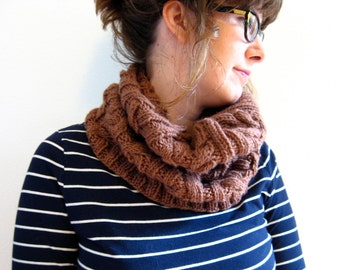 Hand Knit Chunky Cable Cowl, Taupe