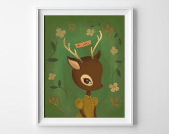 Oh Deer Print - Oh Deer Illustration - Art Print