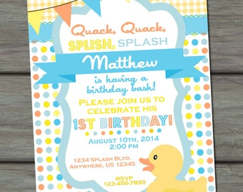 Rubber Duck Birthday Invitation, Rubber Duck Invitation, Rubber Ducky Invitation, First Birthday Invitation,  Rubber Ducky Birthday Party