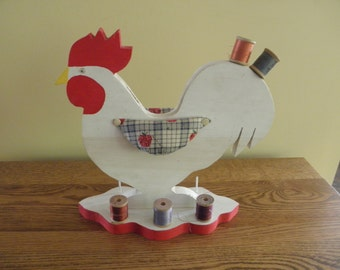 Wooden Folk Art Sewing Rooster