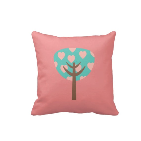 Personalized Butterfly Heart Throw Pillow Cover : Custom Heart Tree Throw Pillow & Cover-Pink-Pool Blue-Brown OR