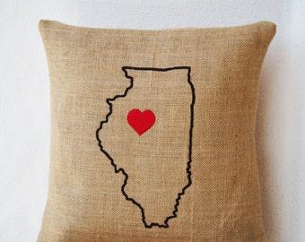 Burlap Pillows- State Pillow- Illinois pillow- Personalized Pillow- Customized Cushion- Gift- 14x14- Burlap Cushion- California Pillow