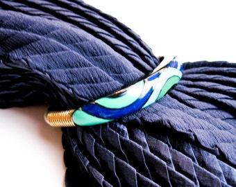 1970s Signed Eisenberg Bracelet from Artist's Series Enamel Swirls, Shades of Blue & Green, Brass. NY USA.