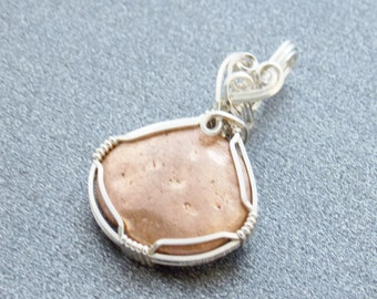 Natural Copper Nugget Pendant, Sterling Silver Wire Wrap