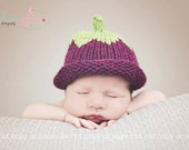 Warm baby hat - 3 6 9 months purple blackcurrant berry - photo prop - autumn fall winter - unisex baby shower gift - hand knit wool mix