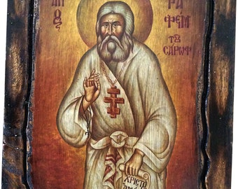 Saint St. Seraphim - Of Sarov - Orthodox Byzantine icon on wood handmade (22.5 cm x 17 cm)
