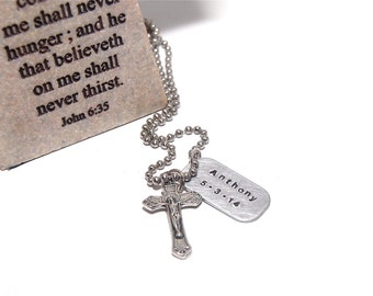 Boy FIRST COMMUNION, First Reconciliation gift, First Communion Boy, Pewter cross and chain, Cross charm, Catholic Jewelry
