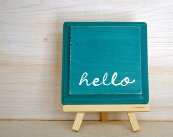 Teal and White Wooden Sign - Hello Sign - Teal Hello Wood Sign - Teal Green and White Wood Plaque