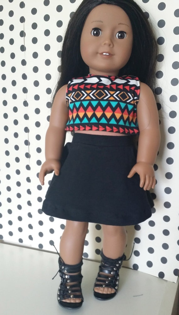 Handmade 18 inch dolls Outfit for American Girl, Our Generation, and others - Aztec Print Modest Crop Top and Black Circle Skirt