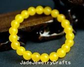 Natural yellow  meditation yoga Prayer Beads Mala jade bracelet,elastic Bracelet,8mm  beads