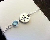 Dainty Initial & Birthstone Bracelet - Silver Finish