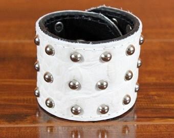 Studded White Leather Cuff - Studded Punk Rock Cuff - Leather Studded White Cuff - Genuine Leather Studded Cuff - Punk Rock Leather Cuff