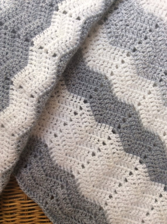 Crocheted White With Shades of Gray Ripple Baby or Lap Blanket