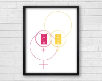 Hers & Hers Lesbian Art - Gay Bathroom Art - Gay Art Prints - Gay Wall Art - Hers and Hers Symbols Bath - Hers and Hers Home Decor
