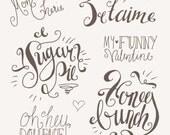 Cutesy Photoshop Overlays 1 // Fully Layered PSD // Editable Vector EPS  // Romance Romantic Sweet Valentine // Brush Stamp //  Calligraphy