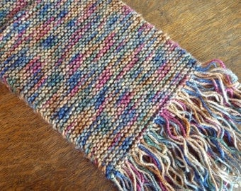 Knit Scarf - Multi-colored (blues, browns, reds, greens) with Fringed Ends by MtnGlen