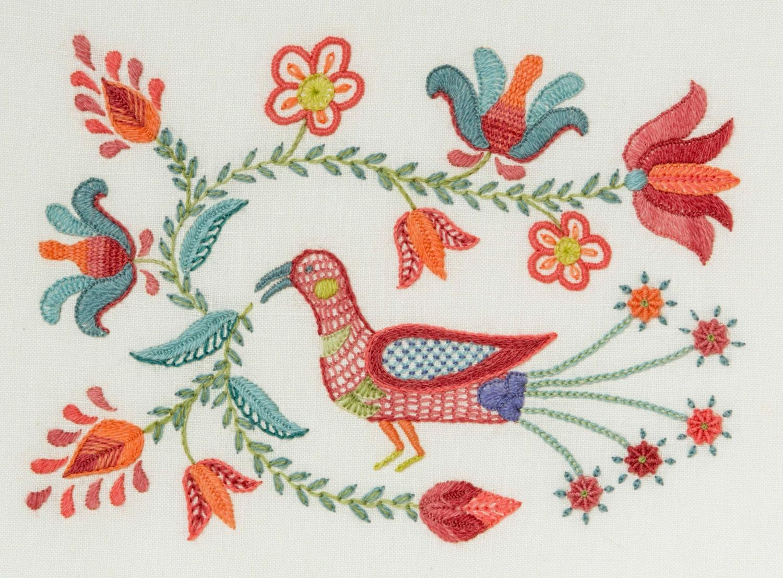 Crewel embroidery kit tulipa bird from finestitchstudio
