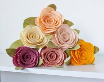 Single Felt Rose Flower - You Pick Color