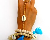 Bracelet Ring - Driftwood Cowrie Bracelet Ring, Tan Wood Beads with a Cowrie Shell and Cotton Tassel