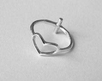 Heart Ring, Sideways Cross Ring, Reversible Sterling Silver Ring - Gift